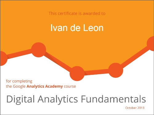 Certificate - Digital Analytics Fundamentals - Analytics Academy Courses