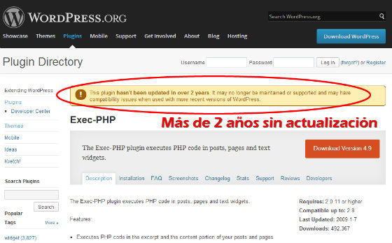 wordpress plugin desactualizado